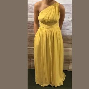 Tevolio Yellow One Shoulder Formal Dress NWT